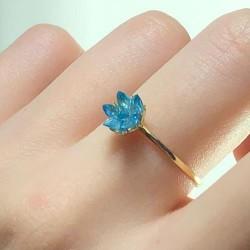 14 Ayar Altın Mavi Lotus Çiçeği Yüzük