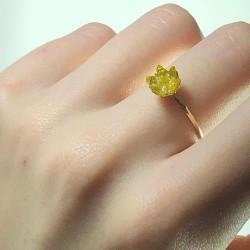 14 Ayar Altın Sarı Lotus Çiçeği Yüzük